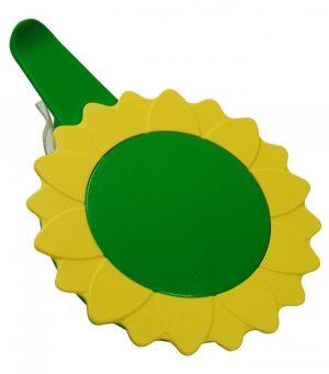 Glasabdeckung in Sonnenblumenform mit Clip SUNFLOWER als Werbeartikel mit Logo im PRESIT Online-Shop bedrucken lassen