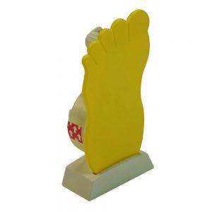 Klebestreifenspender in Fußform PODOLOGIE als Werbeartikel mit Logo im PRESIT Online-Shop bedrucken lassen