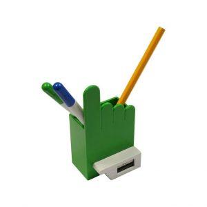 Utensilien-/Stiftebox im Hand-Design mit Anspitzer DOUBLE 4 als Werbeartikel mit Logo im PRESIT Online-Shop bedrucken lassen