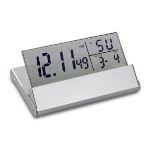Tischuhr mit Weckfunktion REFLECTS-LIVERPOOL SILVER als Werbeartikel mit Logo im PRESIT Online-Shop bedrucken lassen