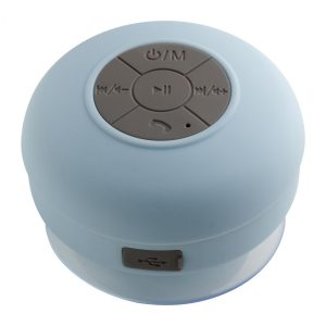 Bluetooth® Duschlautsprecher mit Radio REEVES-AVIGNON LIGHT BLUE als Werbeartikel mit Logo im PRESIT Online-Shop bedrucken lassen