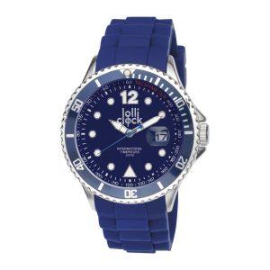 Armbanduhr LOLLICLOCK-CHROME DATE BLUE als Werbeartikel mit Logo im PRESIT Online-Shop bedrucken lassen