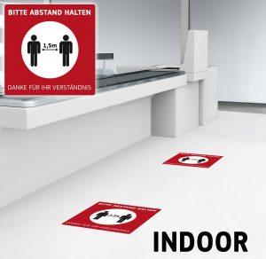 Fussbodenaufkleber Bitte Abstand Halten – Werbeartikel im PRESIT Online-Shop mit Logo bedrucken lassen