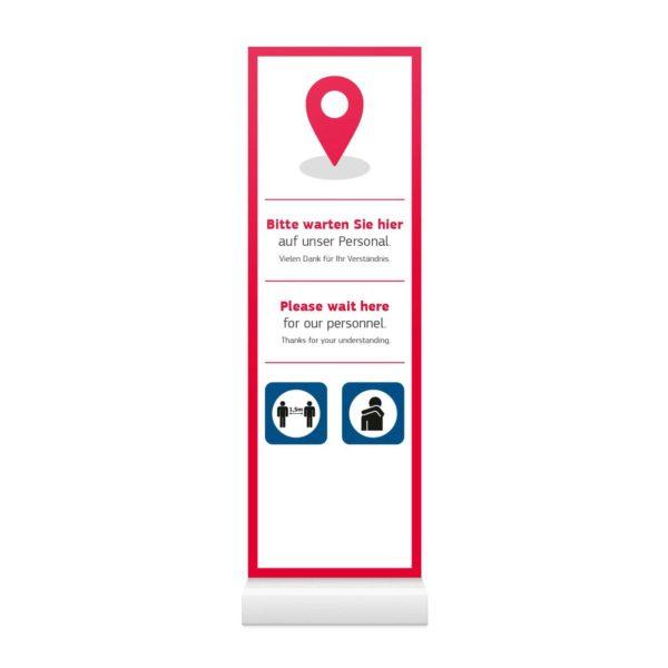 InfoStele Aufsteller Bitte Warten – Werbeartikel im PRESIT Online-Shop mit Logo bedrucken lassen