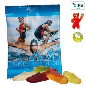 Vegane Jogger-Fruchtgummis als Werbeartikel mit Logo im PRESIT Online-Shop bedrucken lassen