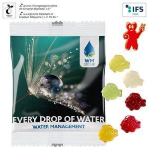Fruchtgummi-Standardformen 20 g im kompostierbaren Tütchen als Werbeartikel mit Logo im PRESIT Online-Shop bedrucken lassen
