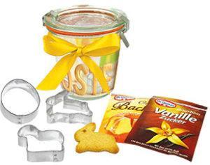 Oster-Backförmchen im Weckglas als Werbeartikel mit Logo im PRESIT Online-Shop bedrucken lassen