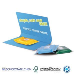 Express Werbekarte Ritter SPORT Schokotäfelchen Knusperflakes als Werbeartikel mit Logo im PRESIT Online-Shop bedrucken lassen