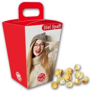 Popcorn im Schmuckkarton als Werbeartikel mit Logo im PRESIT Online-Shop bedrucken lassen