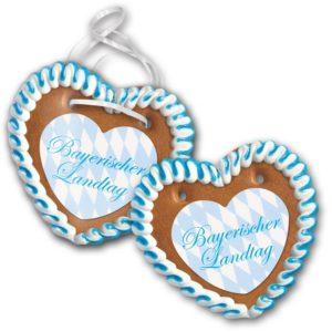 Lebkuchenherz Größe 25 mit Herzpapieraufleger als Werbeartikel mit Logo im PRESIT Online-Shop bedrucken lassen