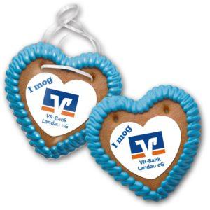 Lebkuchenherz Größe 25 mit Herz - Marzipanaufleger als Werbeartikel mit Logo im PRESIT Online-Shop bedrucken lassen
