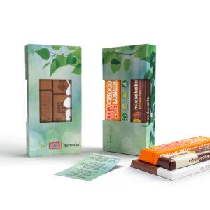 drei verschiedene Sorten der nachhaltigen Schokolade mit Logo gestalten WER GmbH