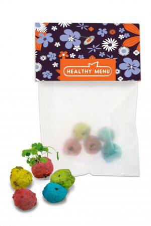 Bunte Mini Flower-Balls als Werbeartikel mit Logo im PRESIT Online-Shop bedrucken lassen