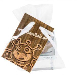 Protect Kids Stamp 4/0-c Indexpapier individuell im Organzasäckchen mit 4/4c-Werbekarte als Werbeartikel mit Logo im PRESIT Online-Shop bedrucken lassen