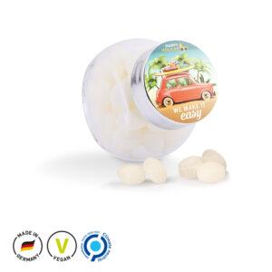 Bonbonglas Mini mit Etikett als Werbeartikel mit Logo im PRESIT Online-Shop bedrucken lassen