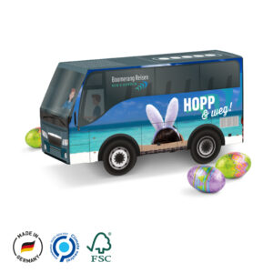 Bus Präsent Ostern als Werbeartikel mit Logo im PRESIT Online-Shop bedrucken lassen