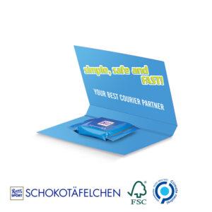 Express Werbekarte Ritter SPORT Schokotäfelchen  als Werbeartikel mit Logo im PRESIT Online-Shop bedrucken lassen