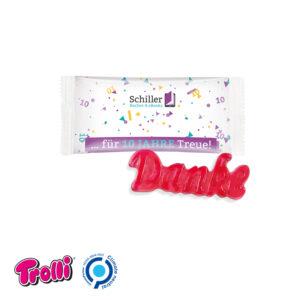 Fruchtgummi 1er Danke als Werbeartikel mit Logo im PRESIT Online-Shop bedrucken lassen
