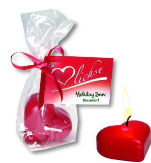 Herz-Kerze als Werbeartikel mit Logo im PRESIT Online-Shop bedrucken lassen
