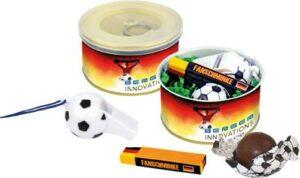 Fußball-Fan-Dose als Werbeartikel mit Logo im PRESIT Online-Shop bedrucken lassen
