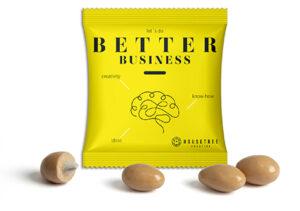 Gesalzene Karamell-Mandeln im Werbetütchen als Werbeartikel mit Logo im PRESIT Online-Shop bedrucken lassen