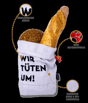 Brottasche aus nachhaltigen und recycelten Materialien Made in Germany mit Logo gestalten