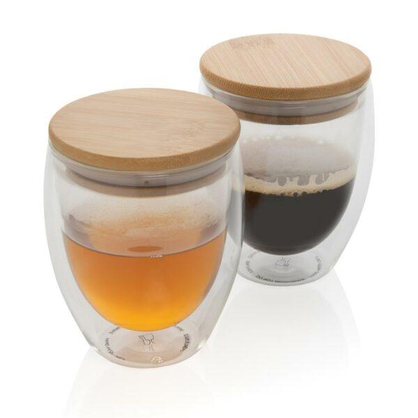 Becherset 2-teilig Borosilikatglas und Bambus für Heißgetränke mit Werbeanbringung WER GmbH