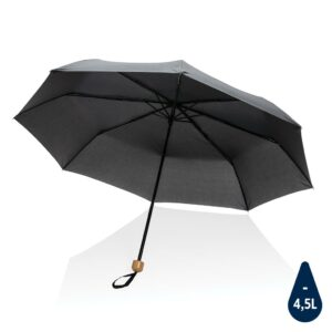 "20.5"" Impact AWARE™ RPET 190T Pongee Bambus Mini-Schirm"