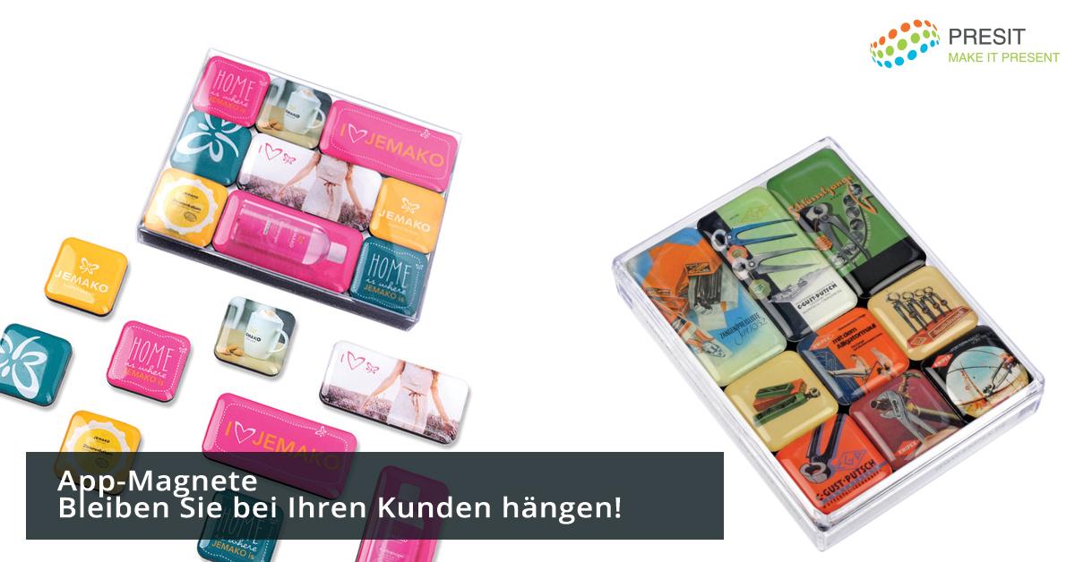 App-Magnete als Werbemittel mit Logo bedrucken lassen.