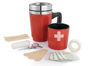 Erste Hilfe-Set Werbemittel Becher – Thermobecher mit Verbandmaterial