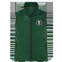 Grüne Fleece-Weste individuell bedrucken lassen - Logo vorne auf der Brust