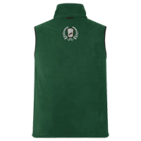 Grüne Fleece-Weste individuell bedrucken lassen - Logo hinten auf dem Rücken