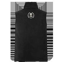 Schwarze Fleece-Weste individuell bedrucken lassen - Logo hinten auf dem Rücken