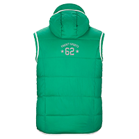 Grüne Stepp-Weste individuell bedrucken lassen - Logo groß auf dem Rücken