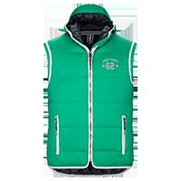 Grüne Stepp-Weste individuell bedrucken lassen - Logo vorne auf der Brust