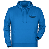 Blaue Kapuzen-Pullover individuell besticken lassen
