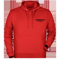Rote Kapuzen-Pullover individuell besticken lassen