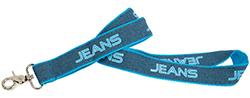 Schlüsselbänder bedrucken lassen auf Jeans-Stoff