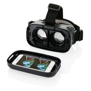 Virtual Reality Brille mit eingesetztem Smartphone