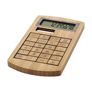Werbeartikel-Taschenrechner aus Holz mit Logodruck unterhalb der Tasten